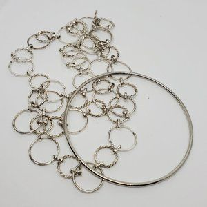Set of Silver Tone Necklace and Bracelet Narrow